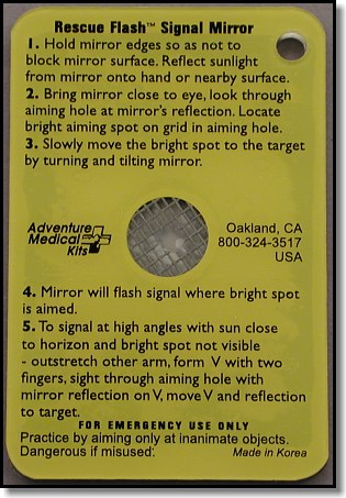 Rescue Flash (tm)  Signal Mirror Instructions